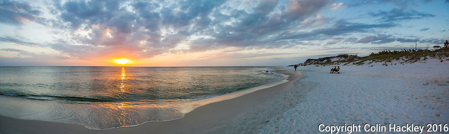 CAPE SAN BLAS, FLA. 4/16/16-Sunset at T. H. Stone Memorial St. Joseph Peninsula State Park on Cape San Blas, Fla.<br /> <br /> EDITOR'S NOTE: This image is comprised of multiple photos taken at the same moment and stitched together in photoshop to create a panorama.<br /> <br /> COLIN HACKLEY PHOTO