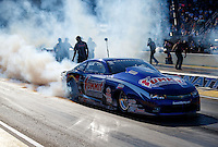 Jul 8, 2016; Joliet, IL, USA; NHRA pro stock driver Jason Line during qualifying for the Route 66 Nationals at Route 66 Raceway. Mandatory Credit: Mark J. Rebilas-USA TODAY Sports