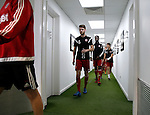 Ben Whiteman captain of the U21 leads the team out for warm up during the PDL U21 Final at Bramall Lane Sheffield. Photo credit should read: Simon Bellis/Sportimage