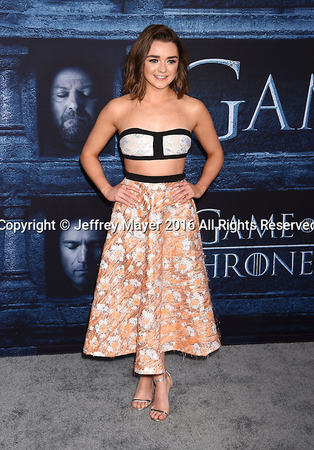 HOLLYWOOD, CA - APRIL 10: Actress Maisie Williams arrives at the premiere of HBO's 'Game of Thrones' Season 6 at the TCL Chinese Theatre on April 10, 2016 in Hollywood, California.