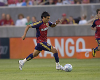 Real Salt Lake midfielder Javier Morales (11) brings ball forward. Salt Lake Real defeated Toronto FC, 3-0, at Rio Tinto Stadium on June 27, 2009.