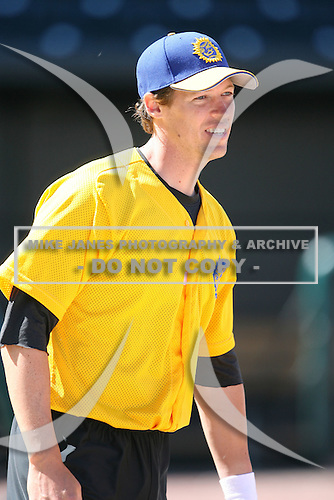 April 17, 2009:  Catcher Neil Wilson of the Jacksonville Suns, Southern League Class-AA affiliate of the Florida Marlins, during a game at the Baseball Grounds of Jacksonville in Jacksonville, FL.  Photo by:  Mike Janes/Four Seam Images