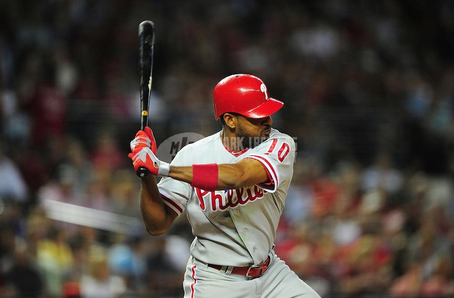Apr. 25, 2011; Phoenix, AZ, USA; Philadelphia Phillies outfielder Ben Francisco against the Arizona Diamondbacks at Chase Field. Mandatory Credit: Mark J. Rebilas-