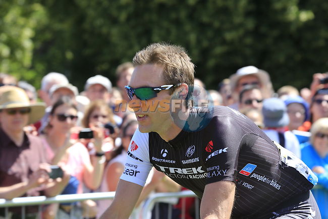 Jens Voigt (GER) Trek Factory at sign on in Cambridge before the start of Stage 3 of the 2014 Tour de France running 155km from Cambridge to London. 7th July 2014.<br /> Picture: Eoin Clarke www.newsfile.ie