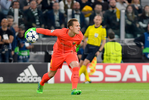 April 11th 2017, Juventus Stadium, Turin, Italy; UEFA Champions league football quarterfinal, leg 1, Juventus versus Barcelona; Marc-Andre ter Stegen puts the ball back into play