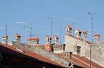 Croatia, Istria, Pula, Unique Croatian chimneys, rooftops, architecture, Istrian coast, Adriatic Sea, Europe,