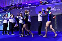 Paolo ZIZZA and Italy staff, 5 ITA QUEIROLO Elisa Italy, 1 ITA GORLERO Giulia Italy <br />  <br /> Budapest 12/01/2020 Duna Arena <br /> GERMANY (white caps) Vs. ITALY (blue caps)<br /> XXXIV LEN European Water Polo Championships 2020<br /> Photo  © Andrea Staccioli / Deepbluemedia / Insidefoto