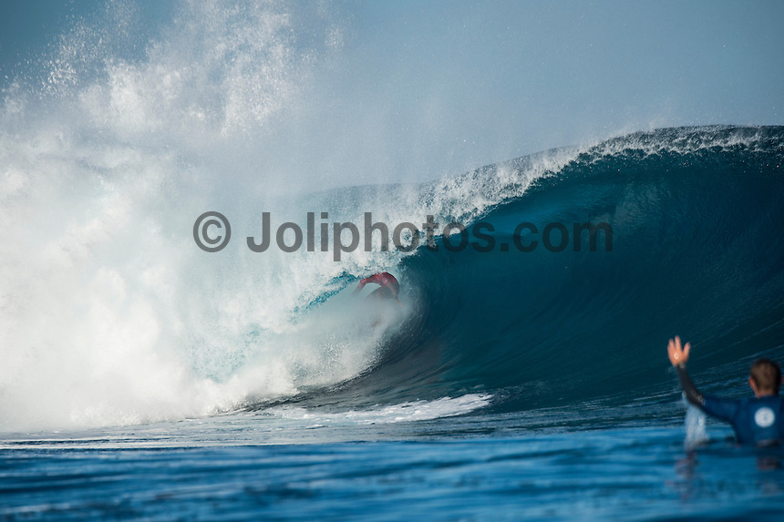 Namotu Island Resort, Nadi, Fiji (Thursday, June 16 2016):  kelly Slater (USA) - The Fiji Pro, stop No. 5 of 11 on the 2016 WSL Championship Tour, was recommenced today at Cloudbreak with a consistent SSW swell in the 6'-8' range. <br /> Rounds 4 and 5 were completed in perfect conditions with a number of rides in the excellent range including two perfect 10 point rides form Gabriel Medina (BRA) and Kelly Slater (USA).<br /> The contest will wrap up tomorrow in what is shaping up as another perfect surf day.<br /> Photo: joliphotos.com