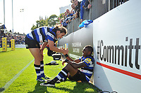 Semesa Rokoduguni of Bath Rugby is congratulated on his second half try with team-mate Max Clark. Aviva Premiership match, between Bath Rugby and Saracens on September 9, 2017 at the Recreation Ground in Bath, England. Photo by: Patrick Khachfe / Onside Images