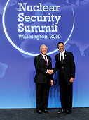 United States President Barack Obama welcomes Prime Minister Mohammed Najib Abdul Razak of Malaysia to the Nuclear Security Summit at the Washington Convention Center, Monday, April 12, 2010 in Washington, DC. .Credit: Ron Sachs / Pool via CNP