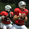 New York Jets quarterbacks Josh McCown #15, right, and Teddy Bridgewater #5 throw passes during team practice at the Atlantic Health Jets Training Center in Florham Park, NJ on Sunday, July 29, 2018.