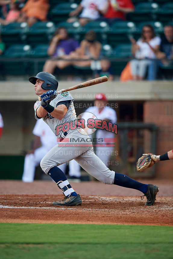 Pulaski Yankees shortstop Max Burt (17) follows through on a swing during a game against the Greeneville Reds on July 27, 2018 at Pioneer Park in Tusculum, Tennessee.  Greeneville defeated Pulaski 3-2.  (Mike Janes/Four Seam Images)