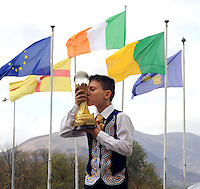 13-4-2014: World u-11 champion Ciaran Keogh from Crumlin, Dublin pictured with his trophy at the World Irish Dancing Championships in Killarney at the weekend.<br /> Picture by Don MacMonagle