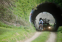1st one to emerge from the 'tunnel' is eventual race winner Martin Mortensen (DNK/ONE)<br /> <br /> 33th Tro Bro L&eacute;on 2016