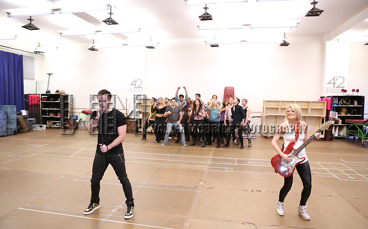 Ryan Knowles, Ruby Lewis, Brian Justin Crum & Company perform at the 'We Will Rock You' North America Tour Rehearsals at The New 42nd Street Studios on September 23, 2013 in New York City.