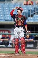Tristin English (15) of Pike County High School in Williamson, Georgia playing for the Atlanta Braves scout team during the East Coast Pro Showcase on August 1, 2014 at NBT Bank Stadium in Syracuse, New York.  (Mike Janes/Four Seam Images)