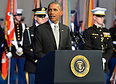 United States President Barack Obama makes remarks on outgoing Secretary of Defense Chuck Hagel at the Armed Forces Farewell Tribute, January 28, 2015 at Joint Base Myer-Henderson Hall, Vrginia. Deputy Secretary Ashton Carter, who has served under Leon Panetta and Hagel is expected to be easily approved by the Senate to replace Hagel.<br /> Credit: Mike Theiler / Pool via CNP