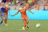 Houston, TX - Sunday Sept. 11, 2016: Carli Lloyd takes a PK during a regular season National Women's Soccer League (NWSL) match between the Houston Dash and the Boston Breakers at BBVA Compass Stadium.