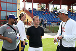 09 January 2015: Real Salt Lake head coach Jeff Cassar (right) with assistant coaches Andy Williams (JAM) (left) and Ted Eck (2nd from left) and New York City FC head coach Jason Kreis (2nd from right). The 2015 MLS Player Combine was held on the cricket oval at Central Broward Regional Park in Lauderhill, Florida.