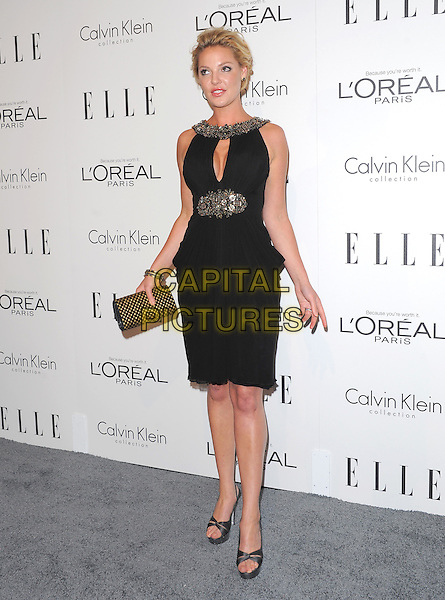 Katherine Heigl.18th Annual ELLE Women in Hollywood celebration held at The Four Seasons in Beverly Hills, California, USA..October 17th, 2011.full length black dress sleeveless silver gold beads beaded trim clutch bag hands arms.CAP/RKE/DVS.©DVS/RockinExposures/Capital Pictures.