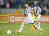CARSON, CA - July 4, 2013: LA Galaxy forward Robbie Keane (7) second penalty shot during the LA Galaxy vs Columbus Crew match at the StubHub Center in Carson, California. Final score, LA Galaxy 2, Columbus Crew 1.