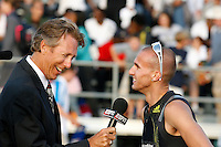 Jeremy Wariner being interviewed by Dwight Stones after his 400m victory at the Adidas Track Classic 2009 on Saturday, May 16, 2009. Photo by Errol Anderson,The Sporting Image.net
