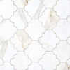 Andre, a stone waterjet mosaic, show in polished Calacatta Gold, is part of the Semplice® collection for New Ravenna.