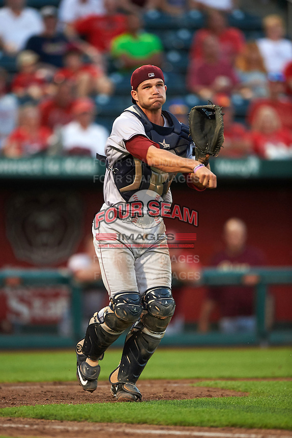 Frisco RoughRiders catcher Patrick Cantwell (3) throws to first during a game against the Springfield Cardinals  on June 4, 2015 at Hammons Field in Springfield, Missouri.  Frisco defeated Springfield 8-7.  (Mike Janes/Four Seam Images)