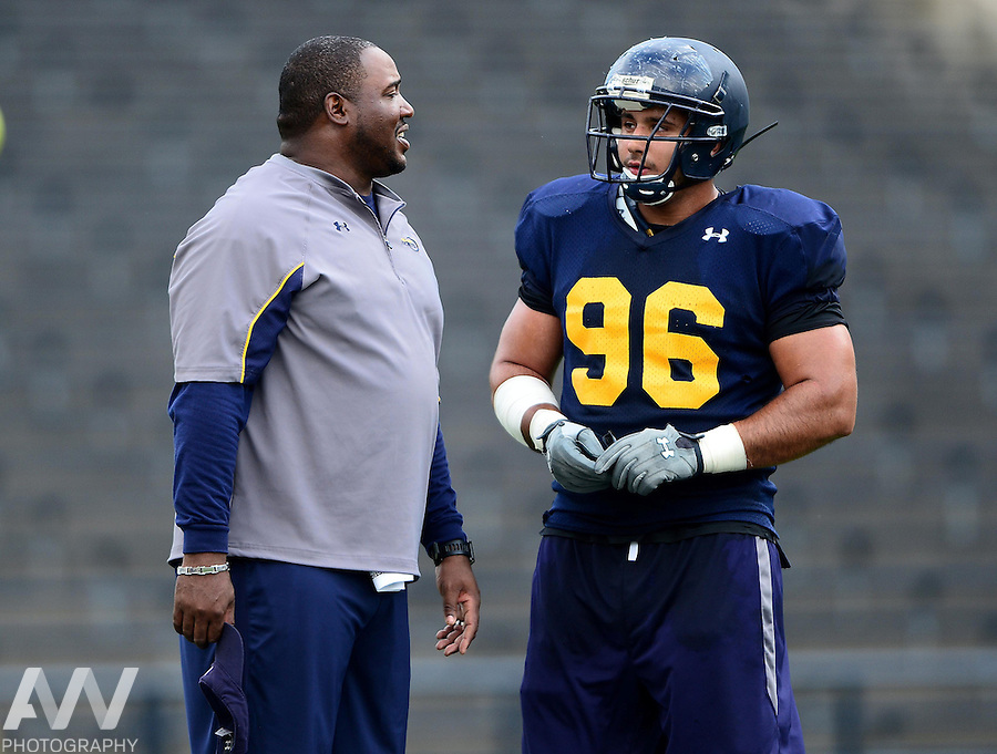 Aug 15, 2012; Toledo, OH, USA; Toledo Rockets defensive line Eli Rasheed coach during practice at the Glass Bowl. Mandatory Credit: Andrew Weber-US Presswire