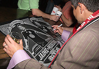 Jaime signs autographs during festivities surrounding the final appearance of Jaime Moreno in a D.C. United uniform, at RFK Stadium, in Washington D.C. on October 23, 2010. Toronto won 3-2.
