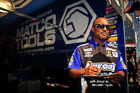 Mar. 31, 2012; Las Vegas, NV, USA: NHRA top fuel dragster driver Antron Brown during qualifying for the Summitracing.com Nationals at The Strip in Las Vegas. Mandatory Credit: Mark J. Rebilas-US PRESSWIRE