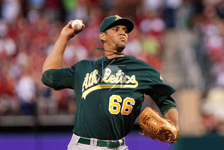 June 19, 2010       Oakland Athletics relief pitcher Tyson Ross (66) throws late in the game.  The St. Louis Cardinals defeated the Oakland Athletics 4-3 in the second game of a three-game homestand at Busch Stadium in downtown St. Louis, MO on Saturday June 19, 2010.