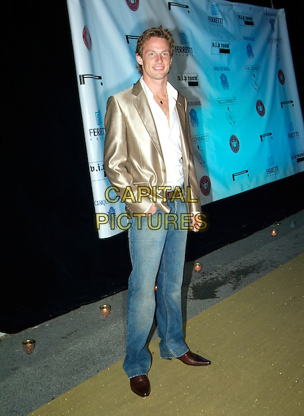 JENSON BUTTON.Attends Naomi Campbell's Le Carnival D'Or Party, Palm Beach, during the 58th International Cannes Film Festival, Cannes, France, May 19th 2005..full length gold jacket jeans white shirt.Ref: KRA.www.capitalpictures.com.sales@capitalpictures.com.©Persun/Capital Pictures