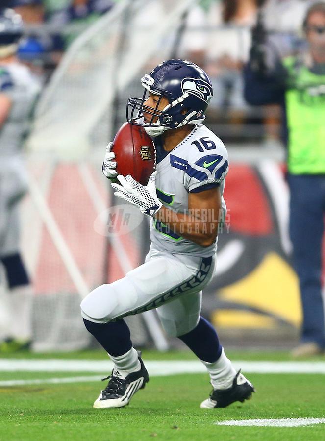 Jan 3, 2016; Glendale, AZ, USA; Seattle Seahawks wide receiver Tyler Lockett (16) against the Arizona Cardinals at University of Phoenix Stadium. Mandatory Credit: Mark J. Rebilas-USA TODAY Sports