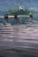 Pletna rowing boat ride to Lake Bled Island, Gorenjska, Upper Carniola Region, Slovenia, Europe