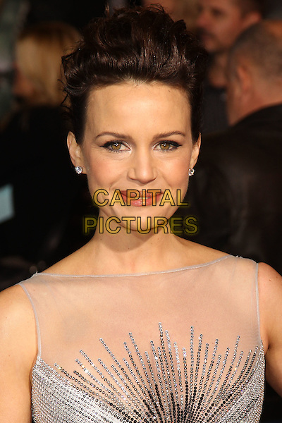 "CARLA GUGINO.World Premiere of CBS Films' ""Faster,"" at Grauman's Chinese Theatre. Hollywood, CA, USA. .November 22nd, 2010.headshot portrait hair up make-up beauty white silver sparkly sleeveless mesh sheer silk satin jewel gem encrusted diamante smiling .CAP/CEL.©CelPh/Capital Pictures..."
