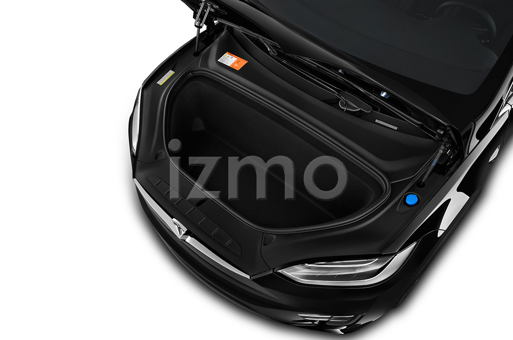 Car stock 2019 Tesla Model X 100D 5 Door SUV engine high angle detail view
