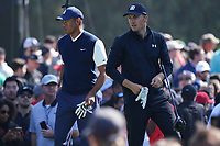 Tiger Woods (USA) & Jordan Spieth (USA) In action during the third round of the The Genesis Invitational, Riviera Country Club, Pacific Palisades, Los Angeles, USA. 14/02/2020<br /> Picture: Golffile | Phil Inglis<br /> <br /> <br /> All photo usage must carry mandatory copyright credit (© Golffile | Phil Inglis)