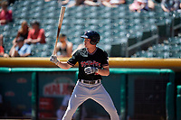 Jordan Patterson (10) of the Albuquerque Isotopes bats against the Salt Lake Bees in Pacific Coast League action at Smith's Ballpark on June 11, 2017 in Salt Lake City, Utah. The Bees defeated the Isotopes 6-5. (Stephen Smith/Four Seam Images)
