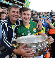 Kerry player James O'Donoghue and his father Diarmuid celebrate after winning the All-Ireland Football Final against Donegal in Croke Park 2014.<br /> Photo: Don MacMonagle<br /> <br /> <br /> Photo: Don MacMonagle <br /> e: info@macmonagle.com