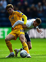 Wigan Athletic's Josh Windass battles with Preston North End's Josh Harrop<br /> <br /> Photographer Richard Martin-Roberts/CameraSport<br /> <br /> The EFL Sky Bet Championship - Preston North End v Wigan Athletic - Saturday 6th October 2018 - Deepdale Stadium - Preston<br /> <br /> World Copyright &not;&copy; 2018 CameraSport. All rights reserved. 43 Linden Ave. Countesthorpe. Leicester. England. LE8 5PG - Tel: +44 (0) 116 277 4147 - admin@camerasport.com - www.camerasport.com
