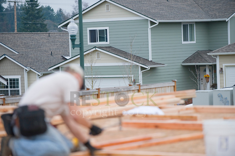 Construction Worker and a New Green Home