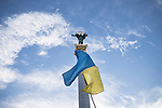 Kiev, Ukraine - 28 nov 2013: Ukrainian flag waved in front of the Berehynia monument on place Maidan, where Orange revolution took place in 2005 and becoming the central place for the pro-european mobilization, aiming to push president Viktor Yanukovych to sign a treaty with European Union in Vilnius. Credit: Niels Ackermann / Rezo.ch