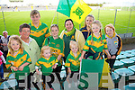 Front left to right, Ava Regan, Chloe Horgan, Kelly Regan, Caoimhe Regan, Clodagh Regan.  Back left to right, Kathleen Diggan, Cian Regan, Orla Coyne, Olga Horan, Shona Regan at the Senior County Hurling final, Lixnaw V Kilmoyley at Austin Stack Park on Sunday