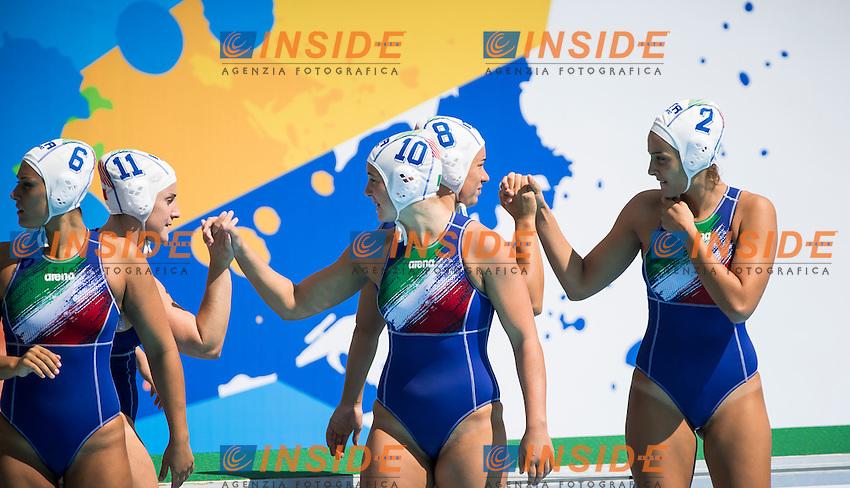 Celebration of Team Italy<br /> ITA USA<br /> Waterpolo - Women's preliminary round<br /> Day 05 28/07/2015<br /> XVI FINA World Championships Aquatics Swimming<br /> Kazan Tatarstan RUS July 24 - Aug. 9 2015 <br /> Photo Giorgio Perottino/Deepbluemedia/Insidefoto