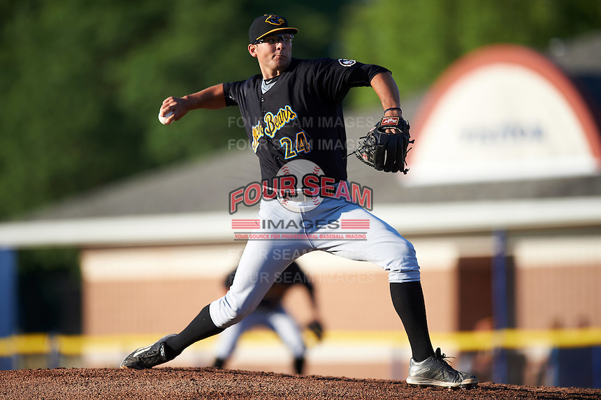 West Virginia Black Bears starting pitcher Danny Beddes (24) during a game against the Batavia Muckdogs on June 29, 2016 at Dwyer Stadium in Batavia, New York.  West Virginia defeated Batavia 9-4.  (Mike Janes/Four Seam Images)