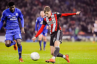 Sheffield United's midfielder David Brooks (36) shoots during the Sky Bet Championship match between Sheff United and Cardiff City at Bramall Lane, Sheffield, England on 2 April 2018. Photo by Stephen Buckley / PRiME Media Images.