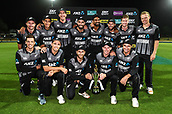 10th February 2019, Seddon Park, Hamilton, New Zealand; 3rd T20 International, New Zealand versus India;    New Zealand players celebrate with the series winning trophy