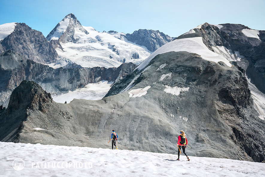 The Chamonix to Zermatt Glacier Haute Route. In late August 2017, we ran the tour in mountain running gear, running shoes, and all the necessary glacier travel and crevasse rescue gear.  Descending the Col de l'Eveque.