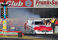 Feb. 14, 2013; Pomona, CA, USA; NHRA funny car driver Todd Lesenko during qualifying for the Winternationals at Auto Club Raceway at Pomona.. Mandatory Credit: Mark J. Rebilas-